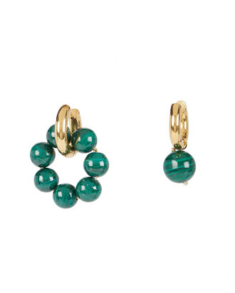 Mismatched Malachite Hoops, GREEN, hi-res