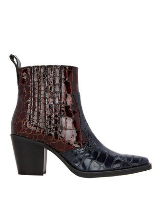 Western Two-Tone Boots, BROWN/NAVY, hi-res