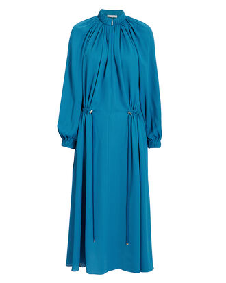 Blue Drawstring Dress, BLUE-MED, hi-res