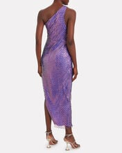 Sequined Netting One-Shoulder Gown, PURPLE, hi-res