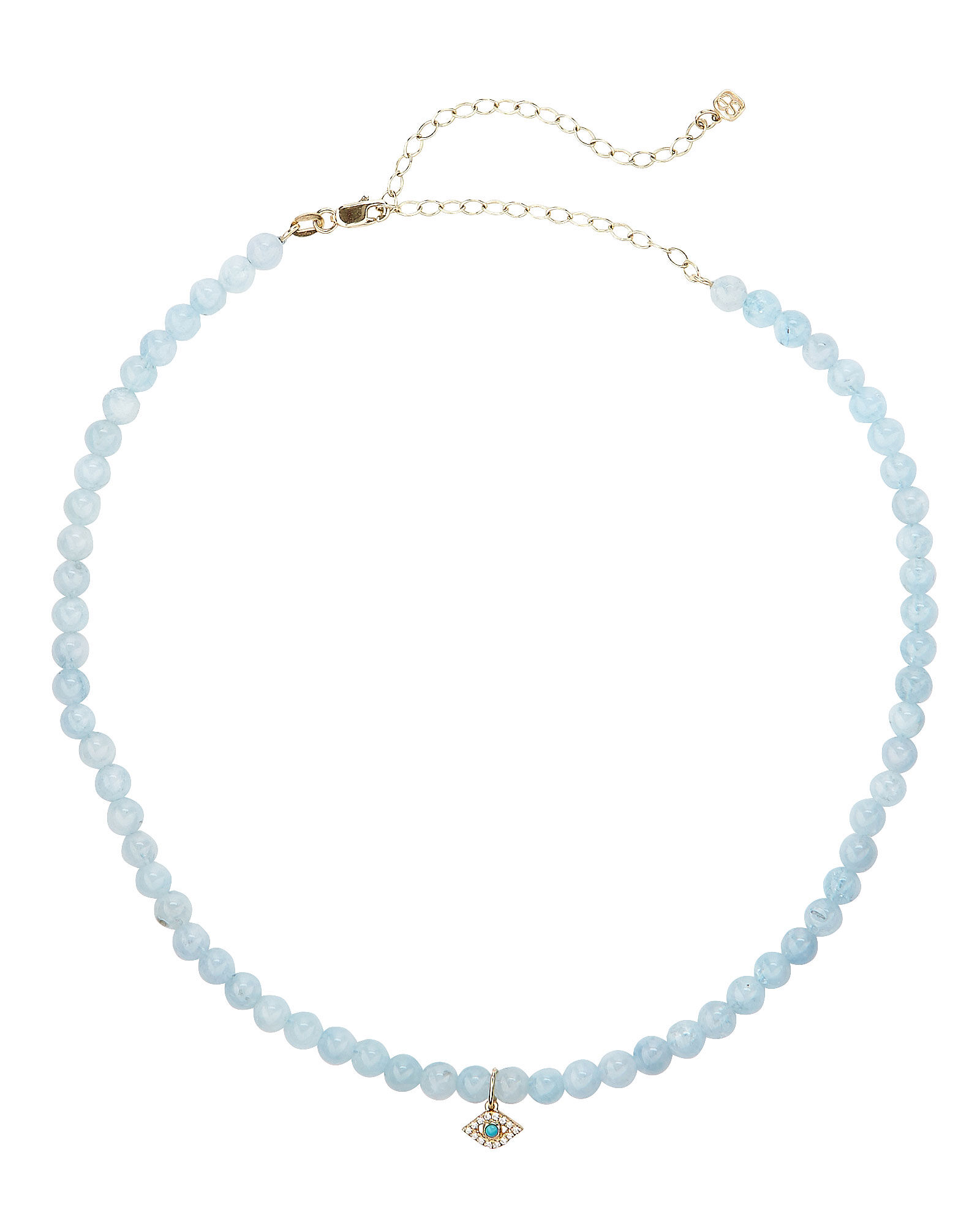 Aquamarine Evil Eye Choker, BLUE/GOLD, hi-res