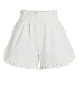 Neon Ruffled Denim Shorts, WHITE, hi-res