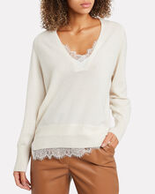 Looker Lace-Trimmed Wool-Cashmere Sweater, IVORY, hi-res
