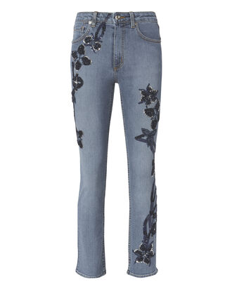 Embroidered High-Rise Jeans, BLUE, hi-res