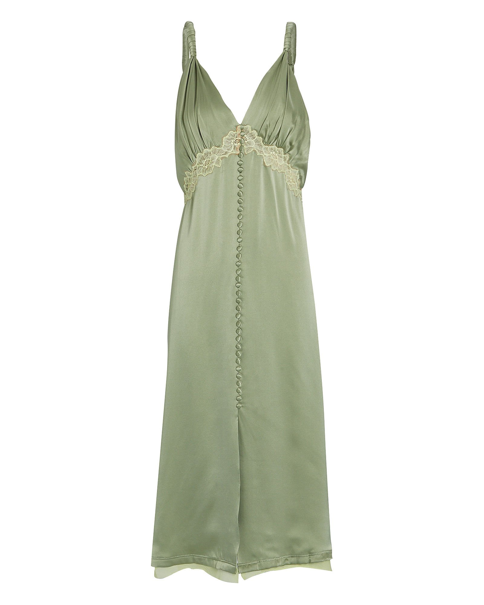 Kendra Lace-Trimmed Silk Dress, PALE GREEN, hi-res