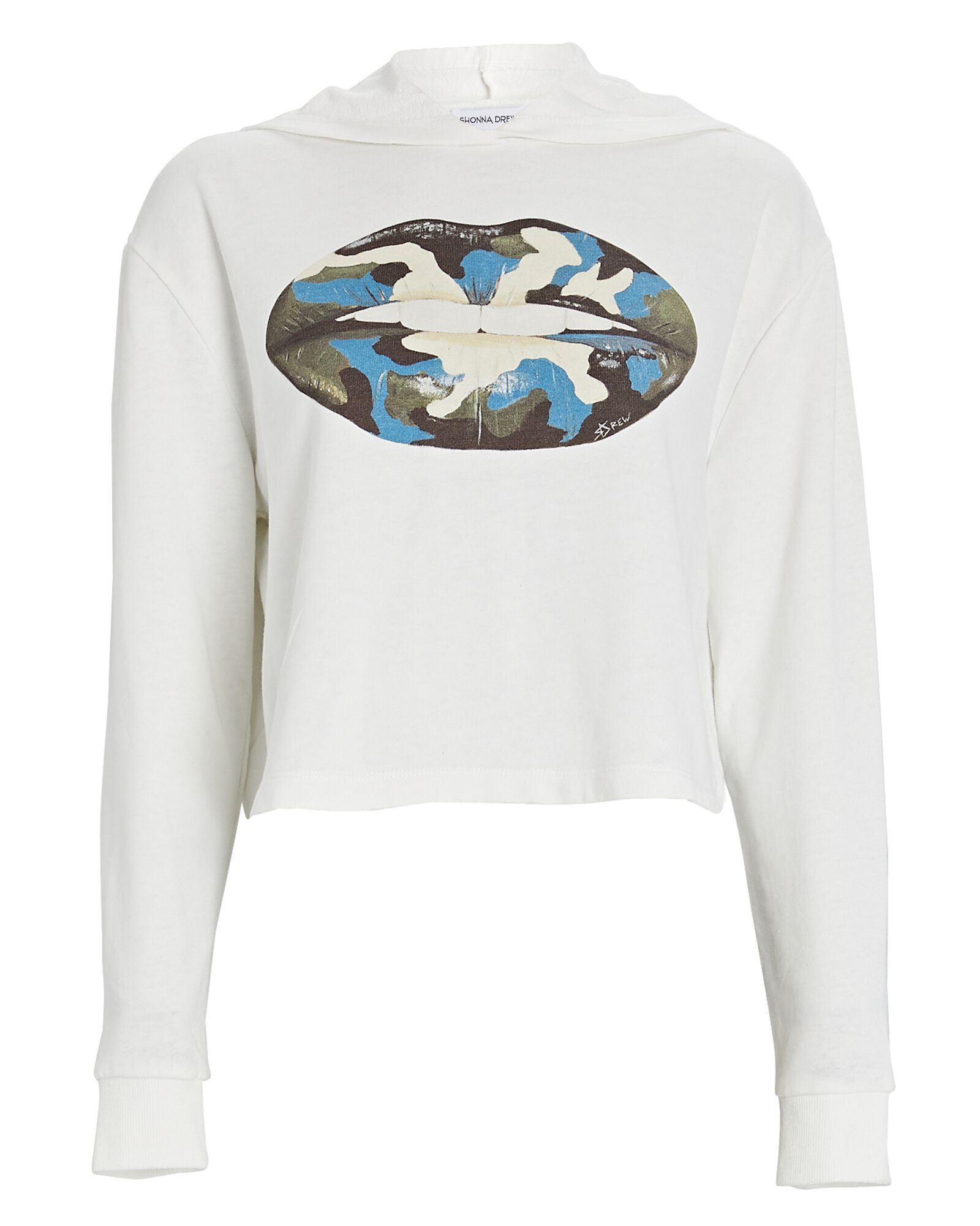 Cropped Hooded Lips Sweatshirt, WHITE, hi-res