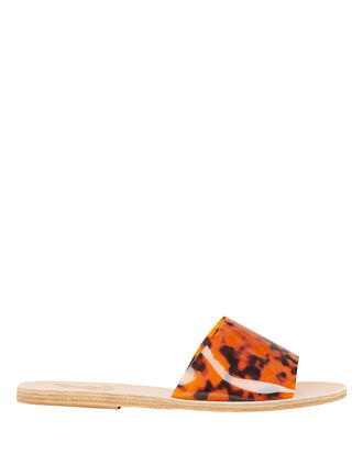 Taygete Tortoise PVC Strap Flat Sandals, BROWN, hi-res