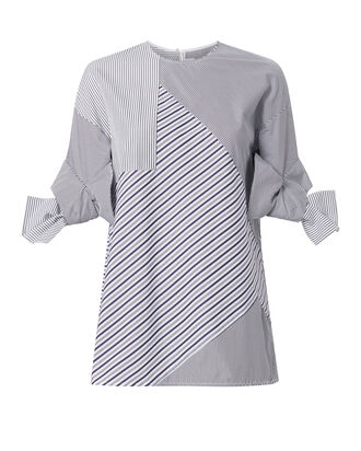 Bow Sleeve Stripe Top, PATTERN, hi-res
