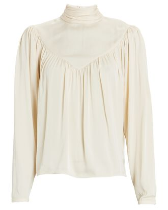 Adelaine Silk Turtleneck Top, GOLD, hi-res