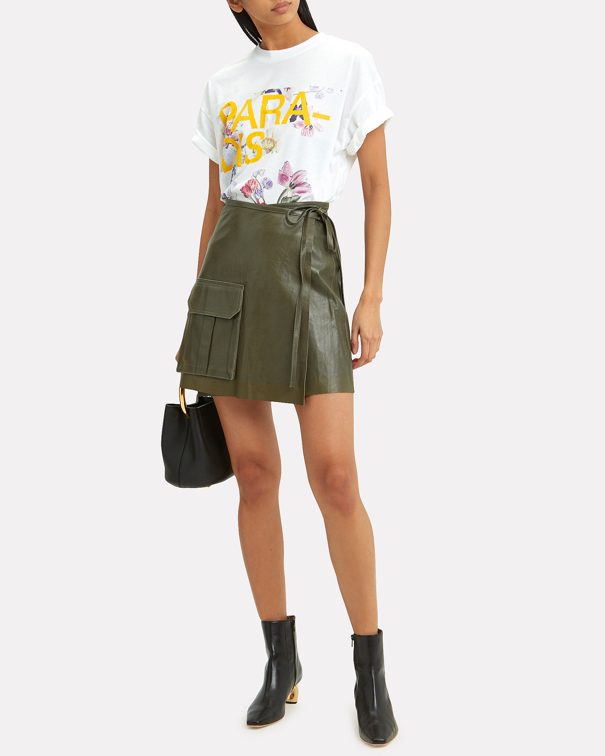 Leather Wrap Mini Skirt, OLIVE/ARMY, hi-res