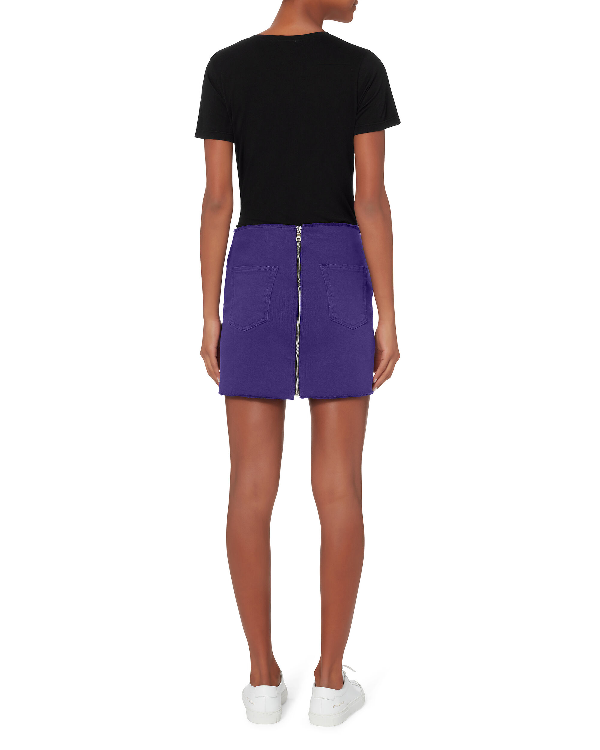 Zip Detail Purple Mini Skirt, PURPLE-DRK, hi-res