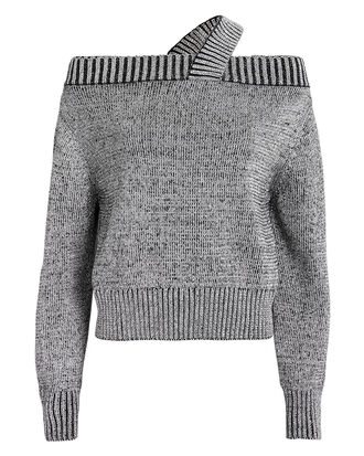 Beckett Off Shoulder Sweater, SILVER, hi-res