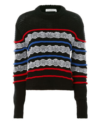 Lace Detail Striped Sweater, BLACK STRIPE, hi-res