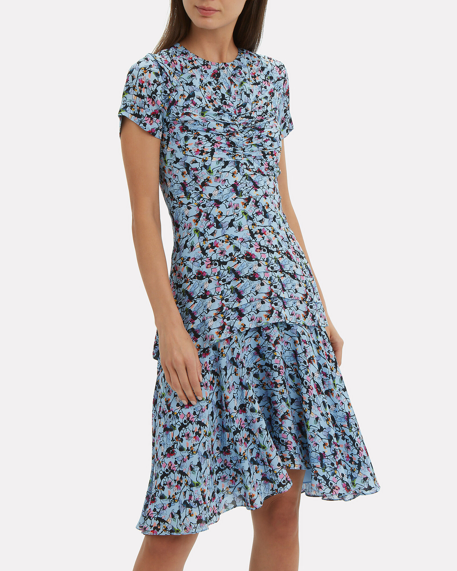 Floral Printed Dress, BLUE-MED, hi-res