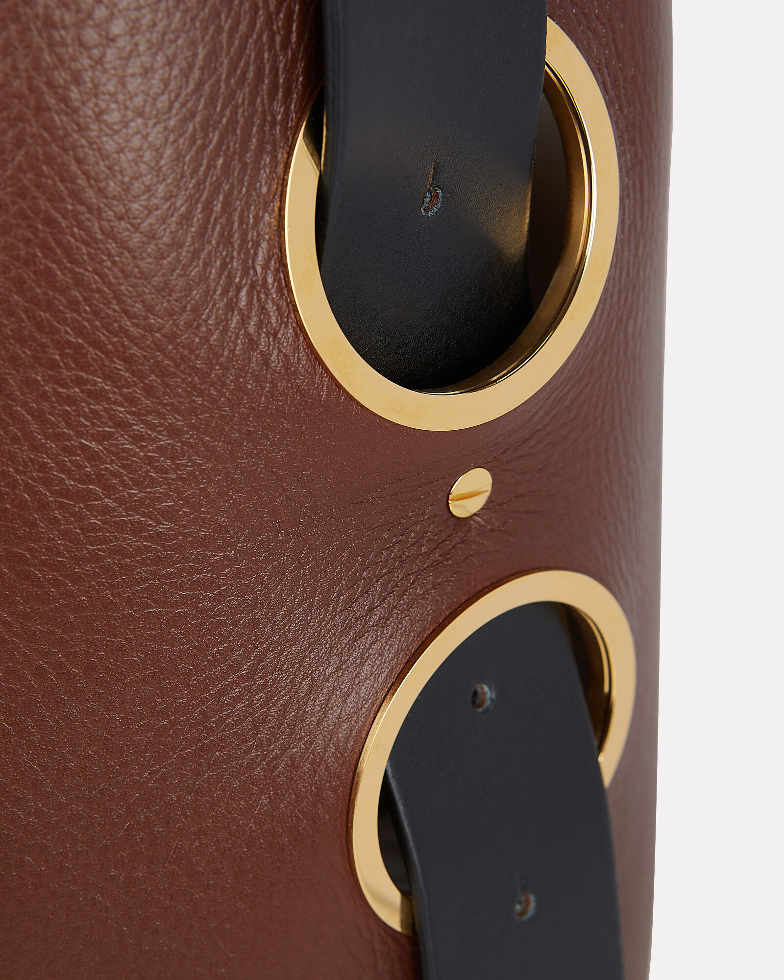 Canvas-Trimmed Leather Tote, BROWN/ECRU, hi-res