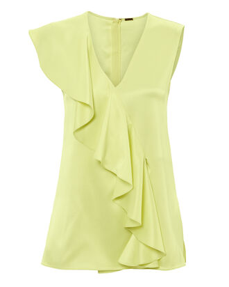 Charmeuse Silk Blouse, GREEN-LT, hi-res