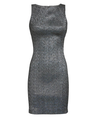 Metallic Mini Dress, SILVER, hi-res