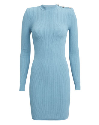 Pointelle Light Blue Knit Mini Dress, LIGHT BLUE, hi-res