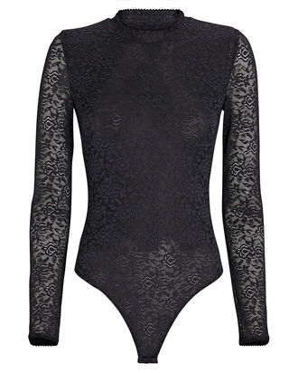Lace Long Sleeve Bodysuit, BLACK, hi-res