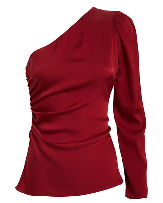 Ramona Silk One-Shoulder Top, RUBY, hi-res