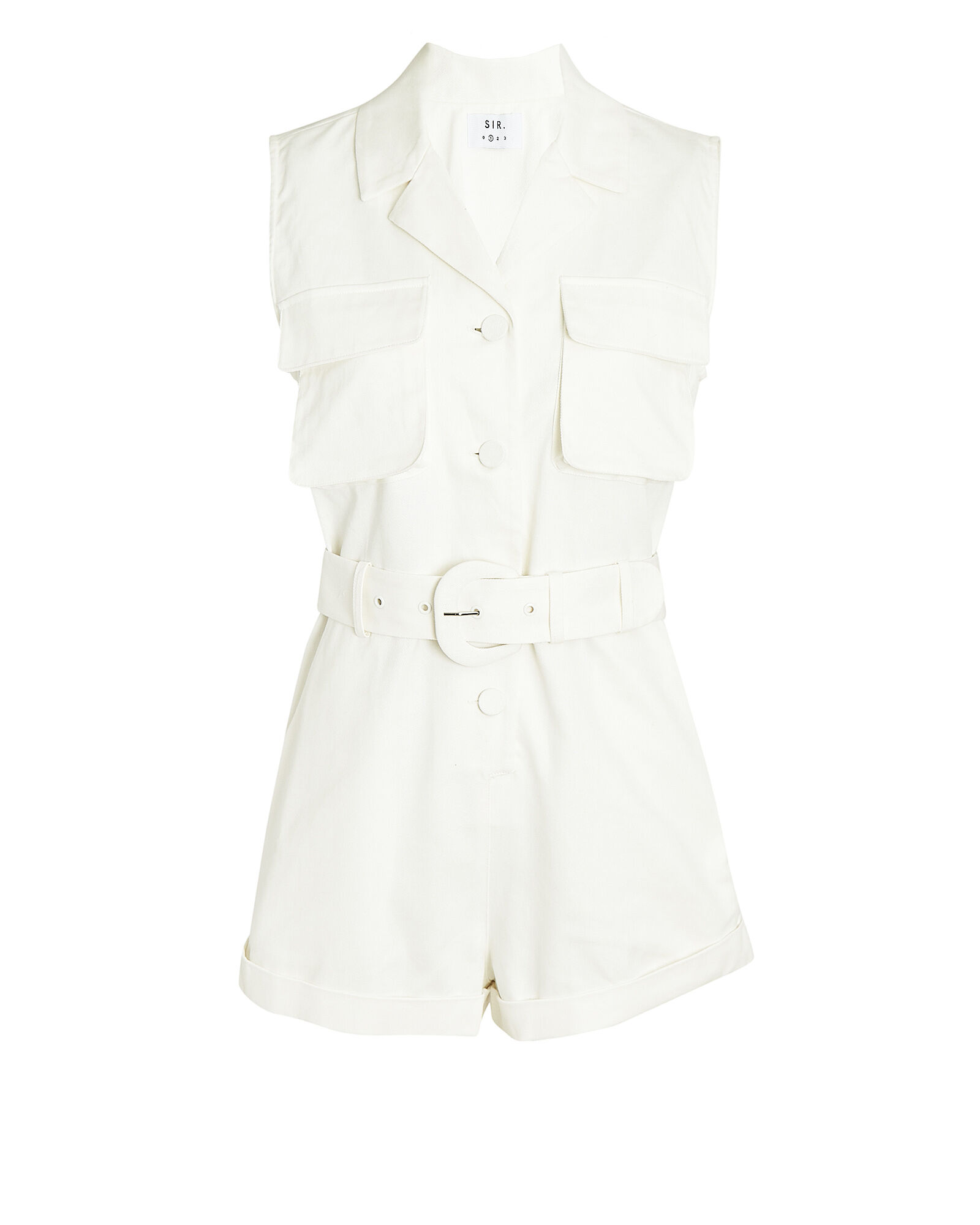 Sabine Cotton Twill Romper, IVORY, hi-res
