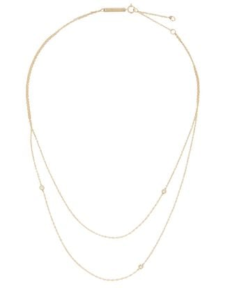Layered Diamond Chain-Link Necklace, GOLD, hi-res