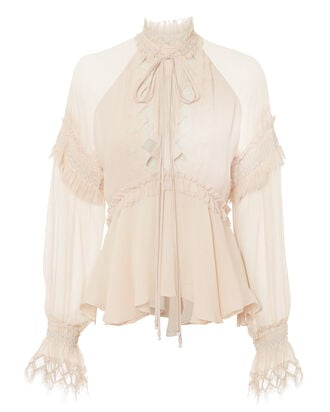 Smocked Lace Top, BEIGE, hi-res
