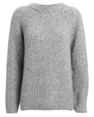 Melange Wool-Alpaca Sweater, GREY, hi-res