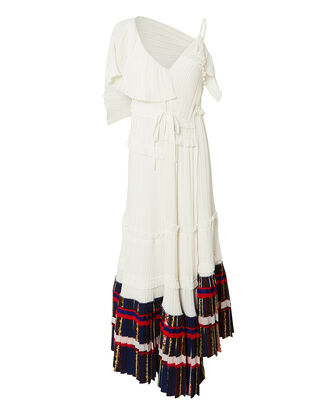 Pleated Asymmetrical Midi Dress, WHITE, hi-res