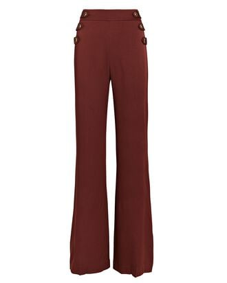 Romily Buttoned Flare Pants, Clay, hi-res