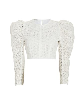 Embroidered Voile Crop Top, WHITE, hi-res