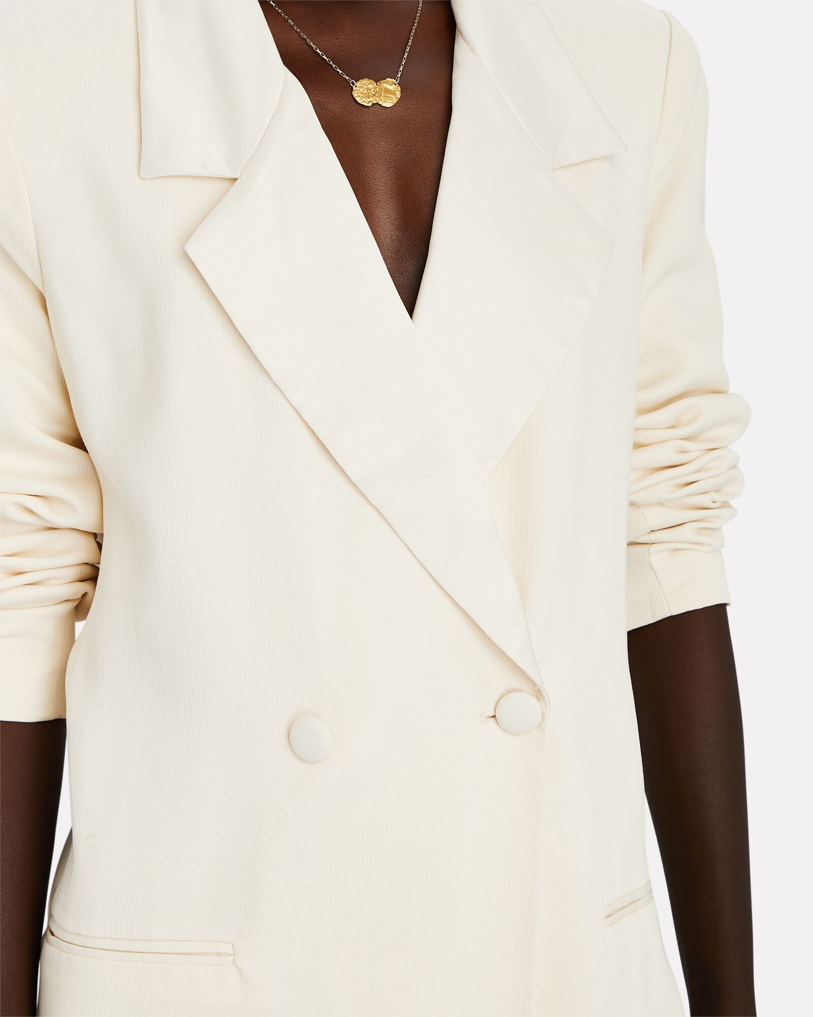 Double-Breasted Blazer Romper, WHITE, hi-res