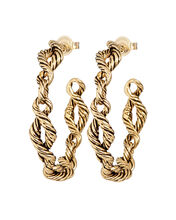 Lola Twisted Hoop Earrings, GOLD, hi-res
