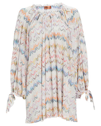 Ruched Knit Chevron Cover-Up, MULTI, hi-res