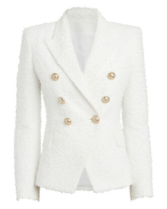 Double-Breasted Tweed Blazer, WHITE, hi-res