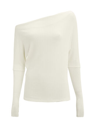 Off Shoulder Slouchy Top, WHITE, hi-res