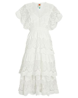 Richelier Tiered Lace Midi Dress, IVORY, hi-res