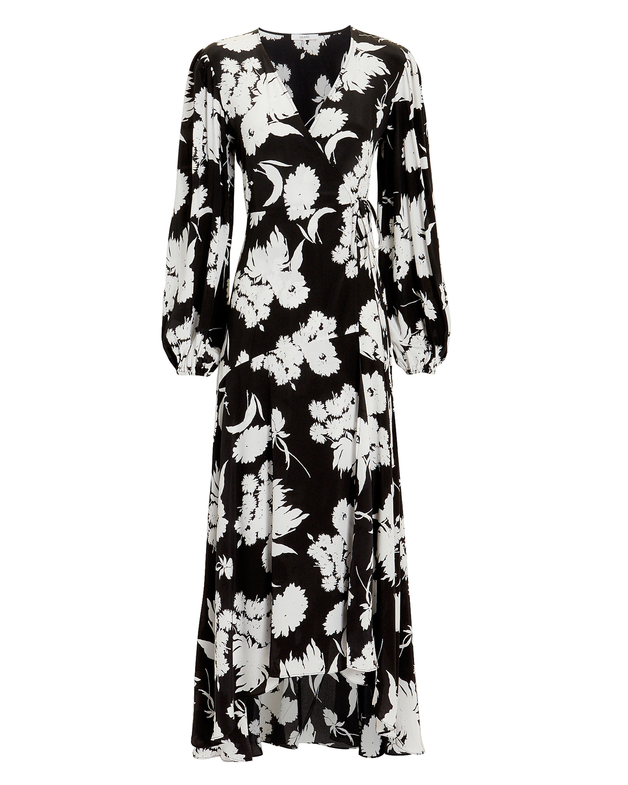 Kochhar Printed Wrap Dress, BLACK, hi-res