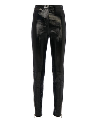 Ankle Zip Patent Leather Leggings, BLACK, hi-res