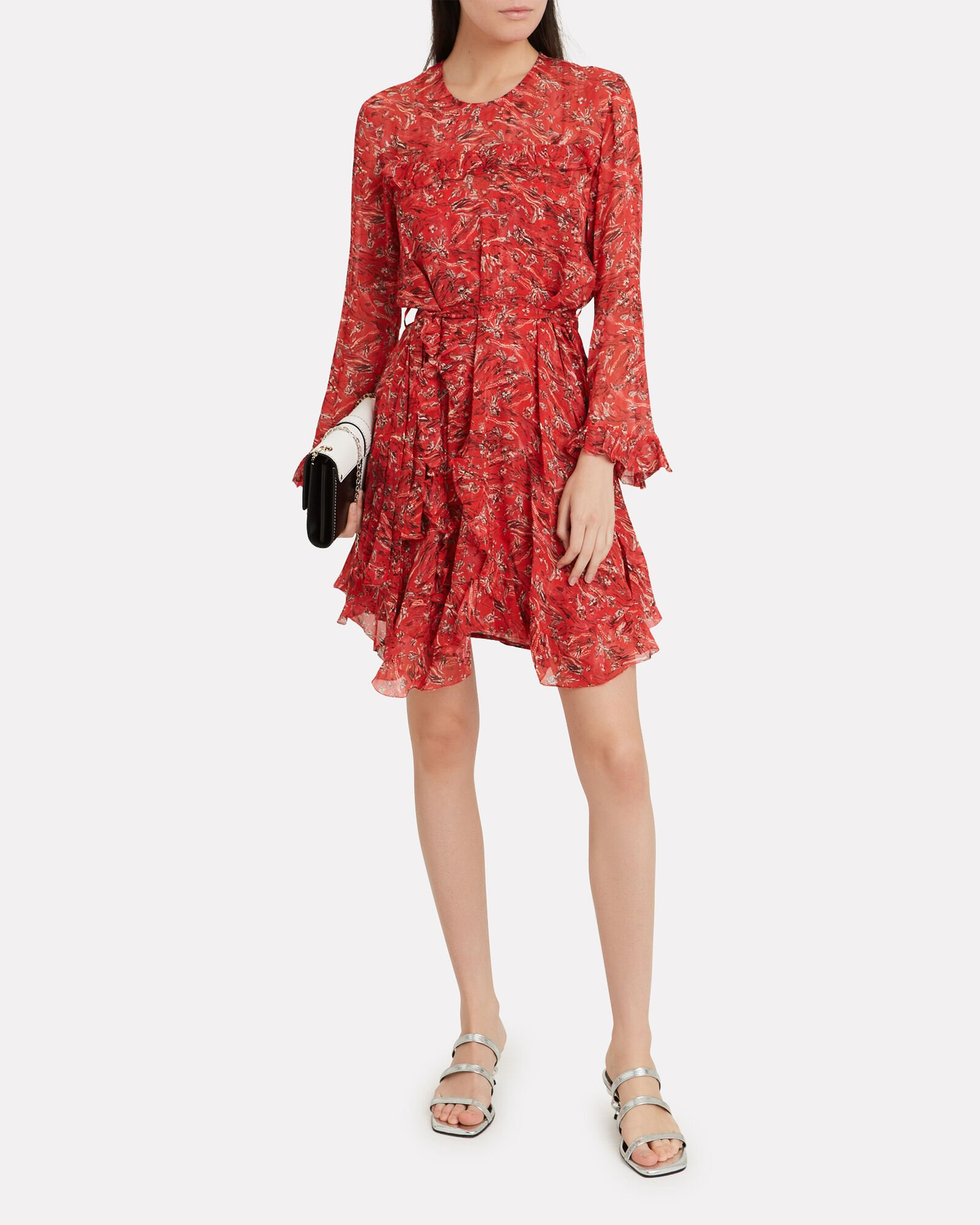 Floral Ruffle Trim Dress, RED/FLORAL, hi-res