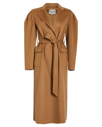 Ava Felted Wool Robe Coat, CAMEL, hi-res