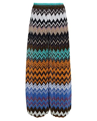 Tapered Knit Chevron Pants, ORANGE/BLUE/BLACK, hi-res