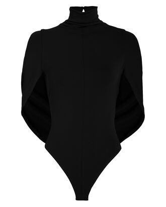 Draped Cape Sleeveless Bodysuit, BLACK, hi-res