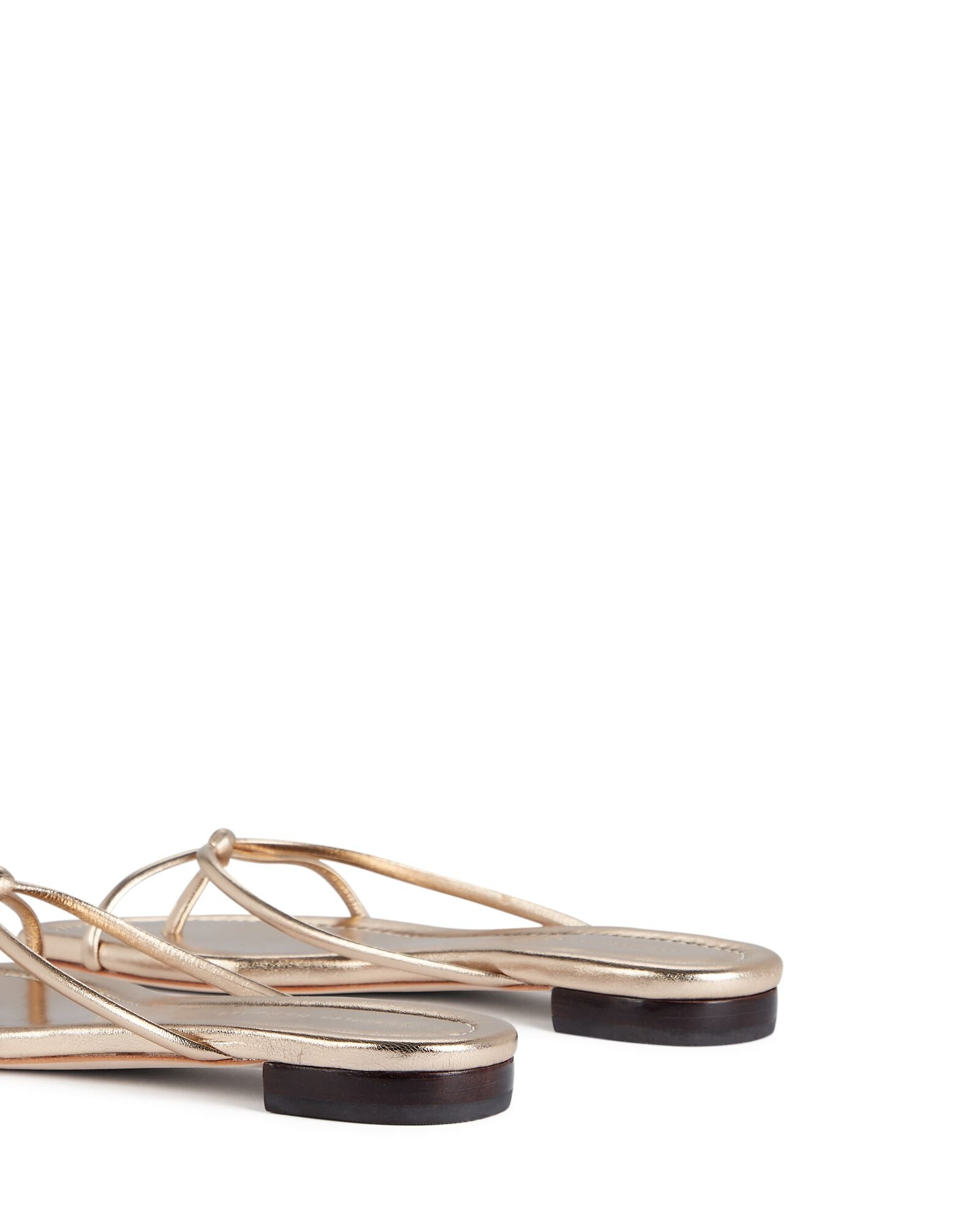 Liv Knotted Leather Sandals, GOLD, hi-res