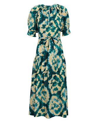 Selena Tie-Dye Puff Sleeve Midi Dress, BLUE/GREEN, hi-res