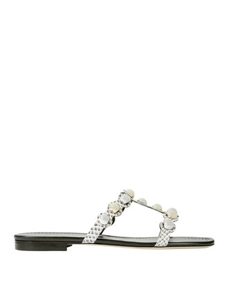 Lia Embossed Leather Stud Sandals, BLK/WHT, hi-res