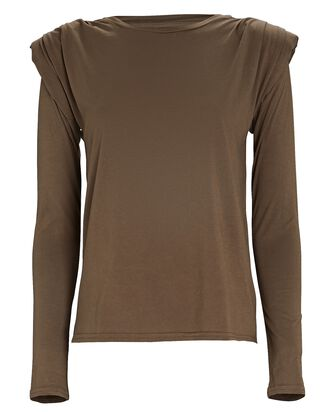 Padded Shoulder Cotton T-Shirt, OLIVE, hi-res
