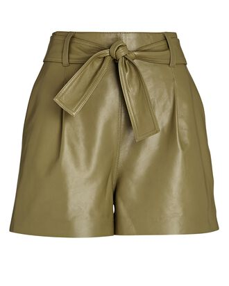 Aria Leather Tie-Waist Shorts, OLIVE/ARMY, hi-res