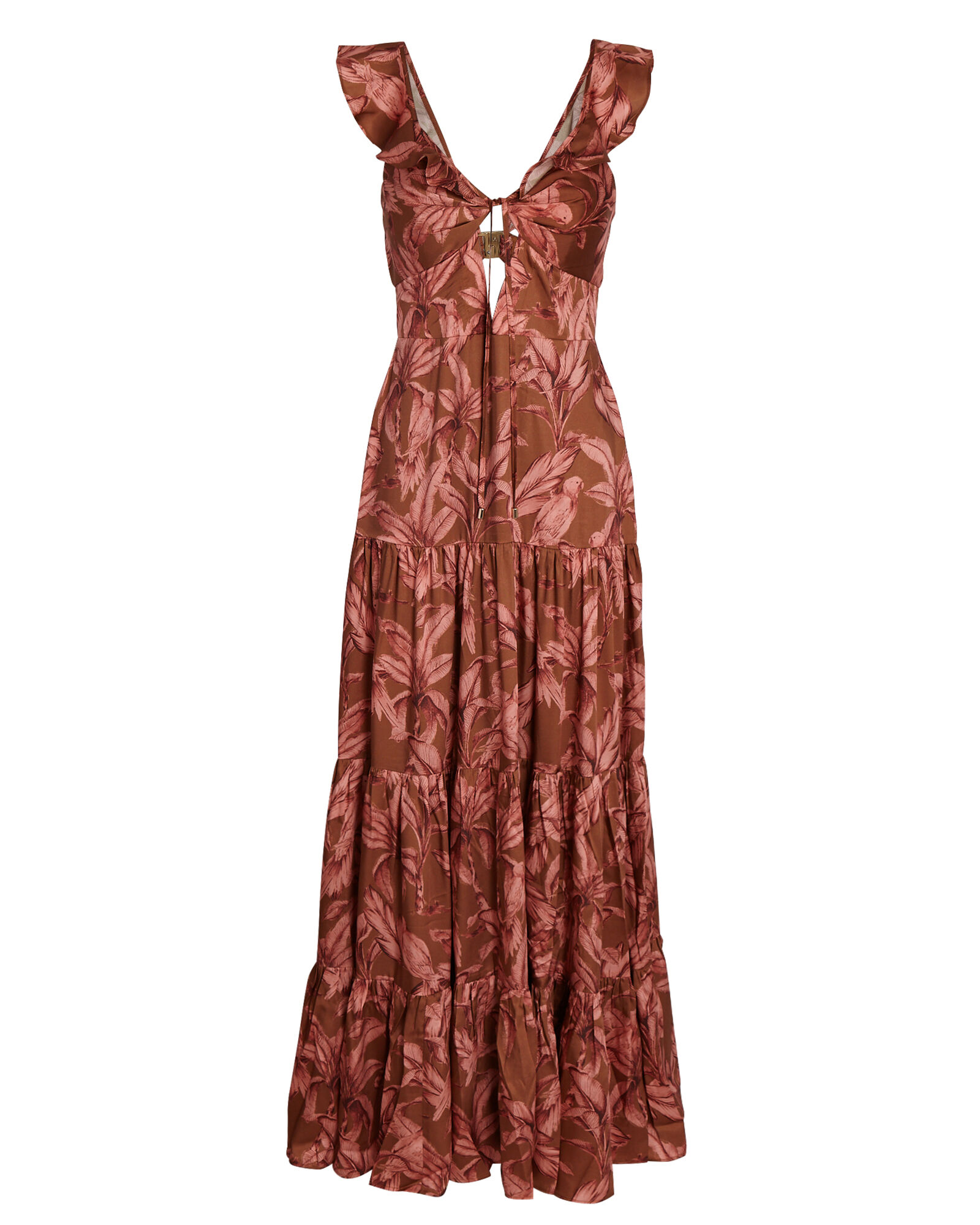 Soller Printed Maxi Dress, BROWN, hi-res