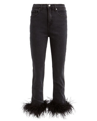 Kareena Feather-Trimmed Skinny Jeans, BLACK, hi-res